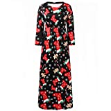 Christmas Floral Maxi Dress,Women Casual Plus Size Full Print Long Dress ANJUNIE(Red,XXXXL)
