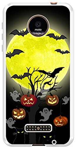 Case for Moto Z Force Droid MUQR Replacement Gel Silicone Compatible Cover Protector for Motorola Z Force/Z Force Droid & Protective Halloween Pumpkin Cat Bat Design -