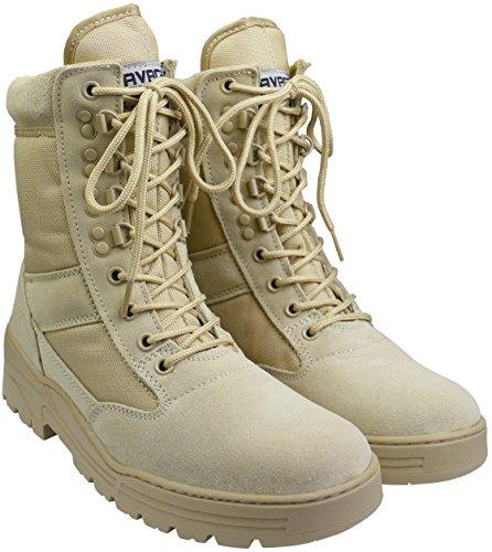 Stivali in pelle scamosciata color cuoio leggeri da combattimento militare e deserto tattici e sicuri per pattuglie militari