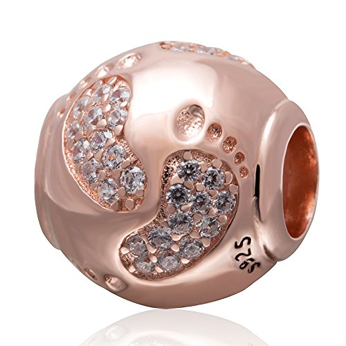 Eternalll Jewellery Rose Gold Baby Footprint Heart Charm Christmas Family Love Bead Baby First Steps Charm for Bracelet, Birthday Charm for 925 Sterling Silver Pandora Charms Bracelets & Pendants (A)