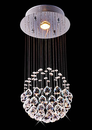 Saint Mossi Crystal Rain Drop Chandelier Modern & Contemporary Ceiling Pendant Light 1 GU10 LED Bulbs Required H20″ X W10″