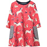 Fiream Girls Cotton Longsleeve Party Dresses Special Occasion Cartoon Print (2T/2-3YRS, 1026TZ)