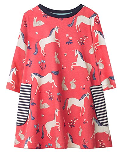 Girls Cotton Longsleeve Pocket Dresses Special Occasion Cartoon Print by Fiream(1026TZ,4T/4-5YRS)