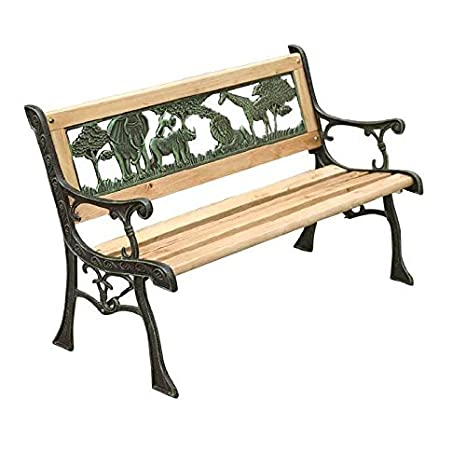 Awe Inspiring New Outdoor Childrens Jungle Garden Bench Wood Slotted Iron Cast Legs Bench Garden Park Short Links Chair Design For Home Short Linksinfo