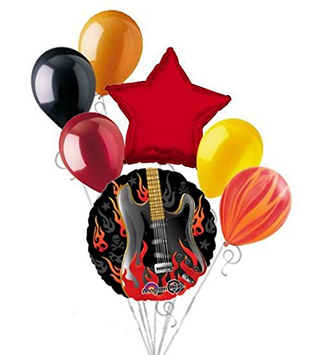 7 pc Rockstar Rock On Happy Birthday Balloon Bouquet Flaming Electric Guitar for $<!--$12.99-->