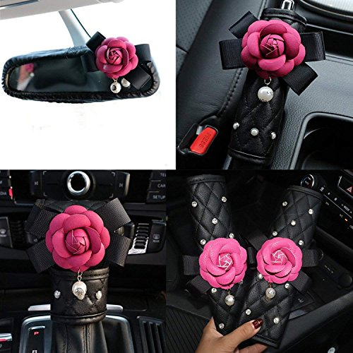 eing Car Handbrake Cover Gears Shift Case Crystal Seatbelt Cover Auto Leather 5PCS Interior Accessories with Cute Camellia Flower,Rose Red Flower