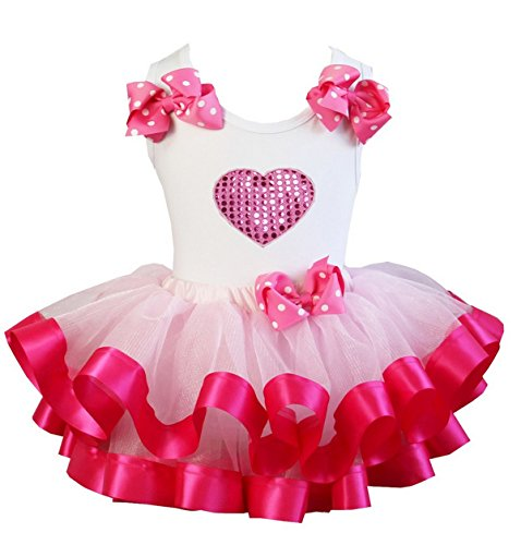 Hot Pink Satin Trimmed Heart Pettiskirt and Top Set