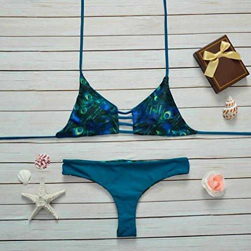 Ouneed Mujeres bikini floral conjunto push-up Bra bañador acolchado baño Verde