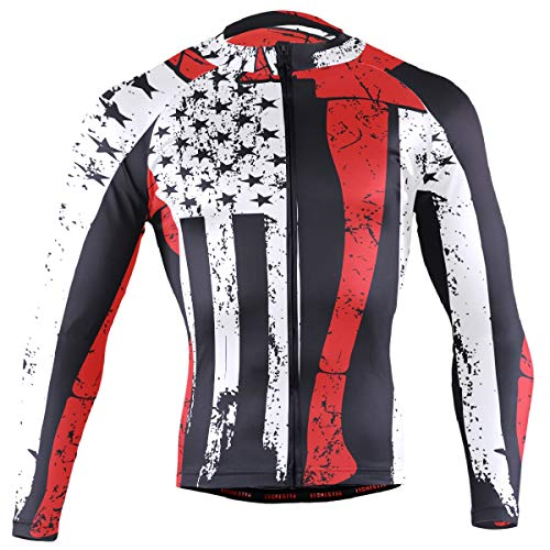 Ainans American Flag Firefighter Men's Cycling Jersey Long Sleeve Bike Jacket Biking Bicycle Jersey Shirt