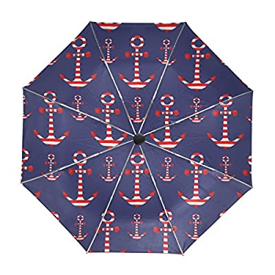 My Daily Striped Anchor Navy Travel Umbrella Auto Open Close UV Protection Windproof Lightweight Umbrella 85%OFF