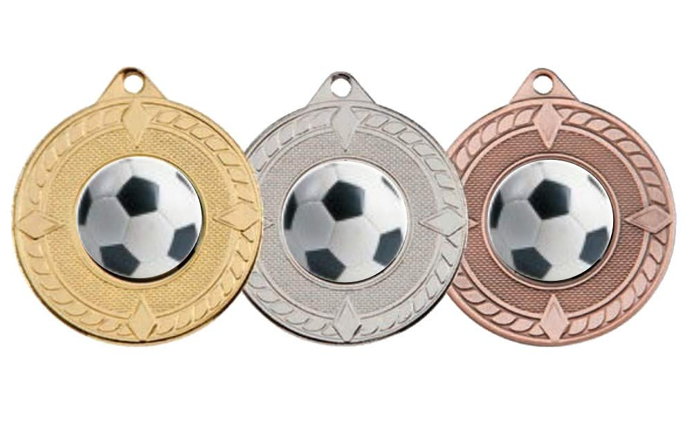 50mm 3 x FOOTBALL MEDALS GOLD,SILVER /& BRONZE-FREE ENGRAVING,CENTRES /& RIBBONS