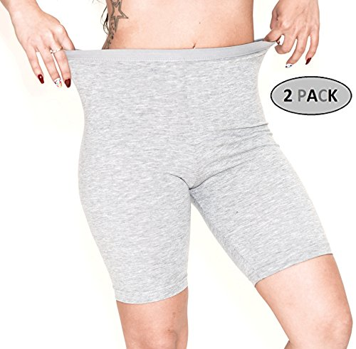 ILKE Women's 2 Pack Cotton Active Dance Running Yoga Boyshorts Boxer Brief (Medium, White and Beige)