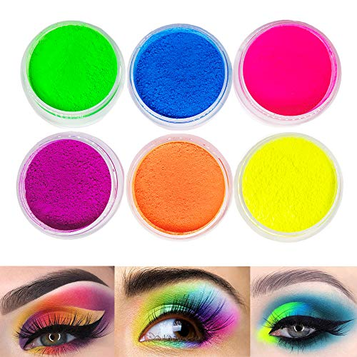 Neon Pigment Eyeshadow Powder,FindinBeauty 6 Mixed Bright True Colors Eye Shadow Pigments Fluorescent Matte Mica Dye Colorant Neon Makeup Set (6NE)