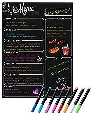 DumanAsen Magnetische Kalender Board Wekelijkse Maaltijdplanner, Menu Board, Magnetische Koelkast Krijtbord, Winkellijst, Maaltijdplanner 30 x 40 cm Koelkast Droog wisbord (Zwart)