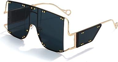 Amazon Com Guvivi De Gran Tamaño De Moda Cuadrada Gafas De Sol Mujeres Nuevo Espejo Hombres Sombras Gafas Lujo Metal Remache Tendencia única Mujer Gafas Negro Clothing