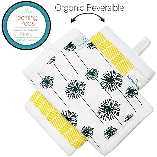 Kaydee Baby Organic Cotton Reversible Teething Chew Pads w/Organic Fleece Inner Lining for Baby Carriers for Girls and Boys - 2 Pack - Variety of Options Available (Flowers & Chevron)