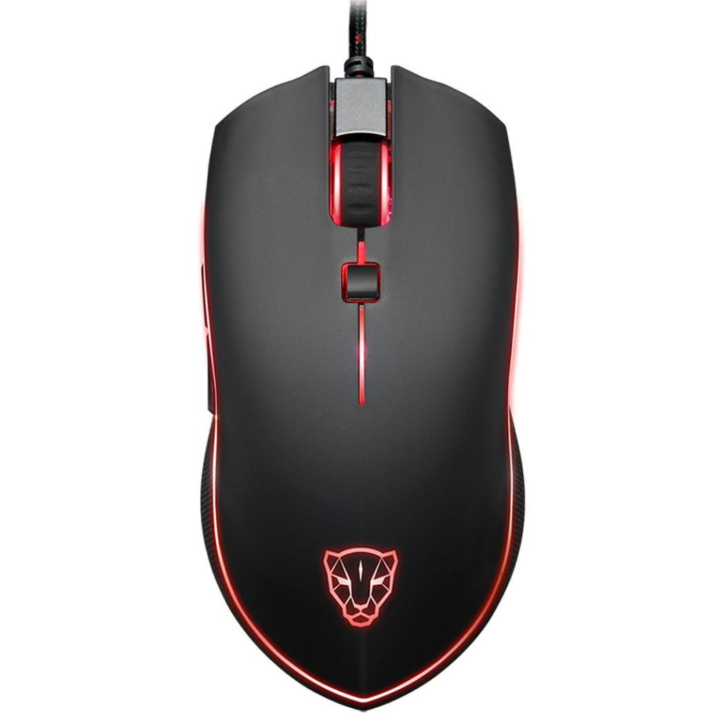 GzPuluz MOTOSPEED V40 USB Wired Gaming Mouse 6 Button Optical RGB LED Lights Mouse 4000DPI