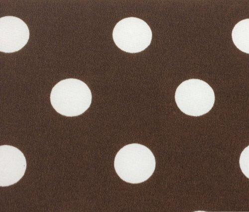 (3/4th Inch Polka Dot Poly Cotton White Dot on Brown 60 Inch Fabric by the Yard (F.E.))