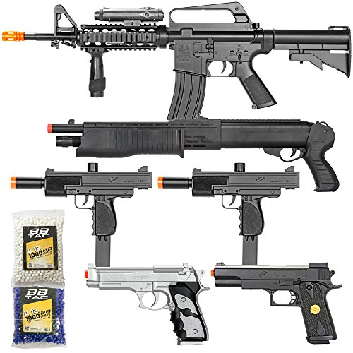 Gun Sniper Set - BBTac Airsoft Gun Package - Black Ops - Collection of Airsoft Guns - Powerful Spring Rifle, Shotgun, Two SMG, Mini Pistols and BB Pellets, Great for Starter Pack Game Play