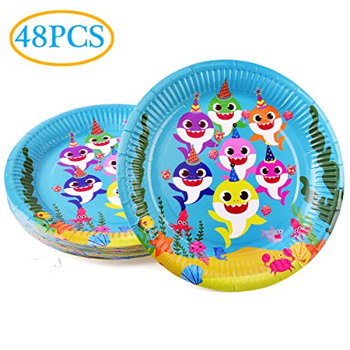 Baby Cute Shark Party Plates 48pcs 9 Inch Birthady Party Supplies for Shark Party Tableware Decorations ()