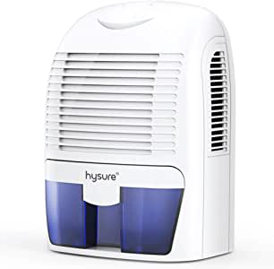 Hysure 1500ML Dehumidifier, Compact and Portable Electric Dehumidifiers Ultra Quiet Home Dehumidifier for Damp Air, Mold, Moisture in Bathroom, Bedroom, Kitchen, Wardrobe, RV and Office-White
