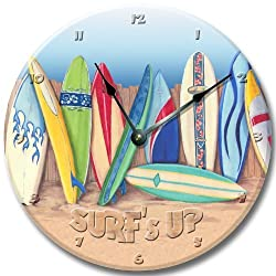 Fancy This SURF BOARDS wall art clock novelty surf tropical large 10 1/2