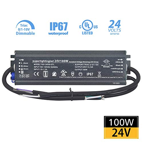 DC24V 100W 0/1-10V and TRIAC UL-Listed Dimmable Waterproof IP67 Thinner LED Transformer Power Supply for Outdoor 24V DMX512 LED Lights (24V 100W 0-10V+Triac)