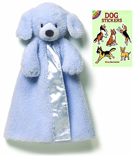 [Gund Baby Fluffey Huggybuddy Blanket Plush with Dog Sticker Book, Blue 17
