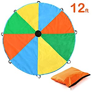 Parachute, Magicfly 12 Feet for Kids Parachute with 8 Handles for Kids Play, Kids Games, Outdoor Games, Outdoor Toys