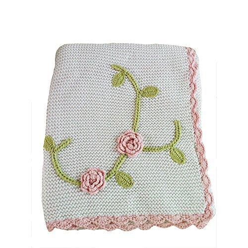 Koala Baby Floral Crochet Blanket (Baby White Crocheted Blanket)