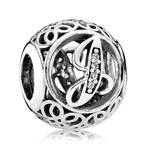 Everbling Vintage Letter J Clear CZ 925 Sterling Silver Bead Fits Pandora Charm Bracelet