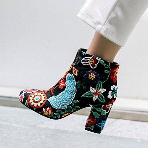 Con botas estilo folklórico con flores bordadas gruesas redondas con áspero con botas: Amazon.es: Deportes y aire libre