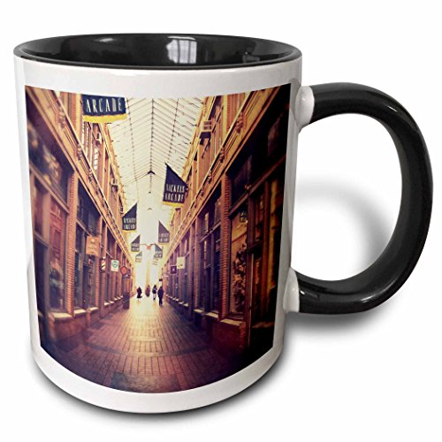 3dRose 3dRose On The Mall - stylized photograph of shopping arcade located in Ann Arbor, Michigan - Two Tone Black Mug, 11oz (mug_52689_4), , - In Mall Outlet Michigan