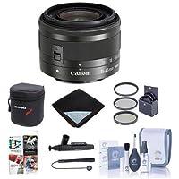 Canon EF-M 15-45mm f/3.5-6.3 IS STM Lens, Black - BUNDLE with 49mm Filter Kit, Soft Lens Case, Cleaning Kit, Lens Wrap (15x15), LensPen Lens Cleaner, Lens Cap Leash, Software Package
