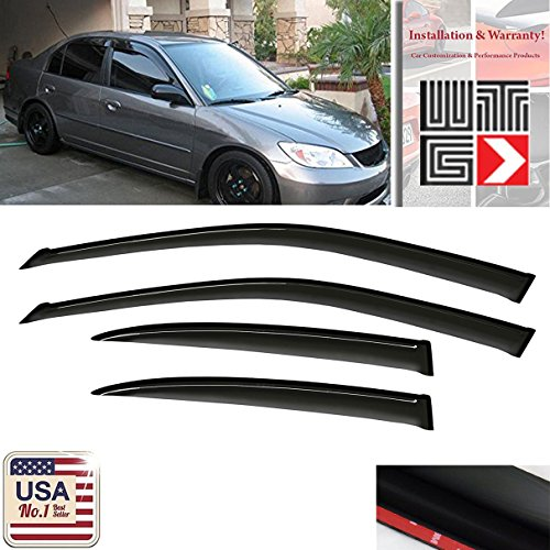 VITO 4pcs Side Window Deflectors Original Window Visors For 2001 2002 2003 2004 2005 Honda Civic 4 Door Sedan Vent Visor Sun/Rain Guard