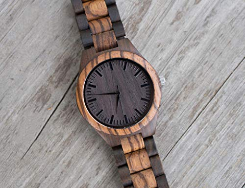 to My Husband Anniversary Wooden Watch Engraved Always and Forever Wife to Husband Watches Wedding Personalized Birthday Watch for Him Man - Zebra Black