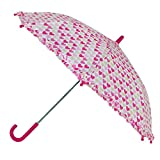 CTM Kid's Multi-Heart Print Ruffle Stick Umbrella, Pink