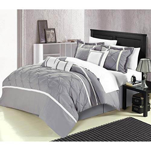 UKN 8pc King Grey Comforter Set, Microfiber, Silver, Modern Contemporary, Fency High Class Bedding, Embroidered Rugby Patchworkv Stripe Novelty Pattern