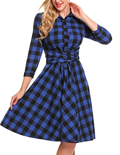 Dresses Plaid Shirt Belted - BURLADY Women 's Casual 3/4 Sleeve Plaid Belted A-Line Pleated Shirt Dress,Royal Blue,Medium