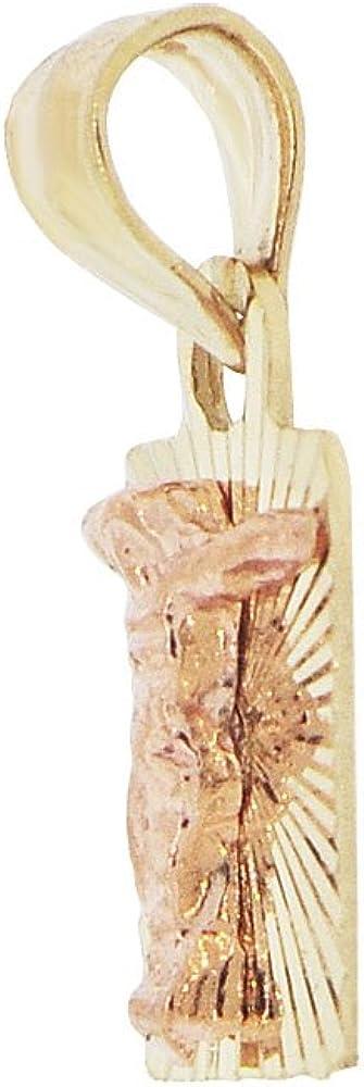 Mini Christ Jesus Crucifixion Religious Pendant Square Charm Sparkly Cuts 14k Yellow /& Rose Gold