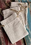 PoshNPretty Upscale Natural Linen Bags with Hemp Drawstrings - 12 PCS - Choose Size (3''x4'')