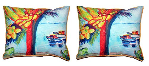 Pair of Betsy Drake Cocoa Nuts & Boats Small Pillows 12 X 12 price