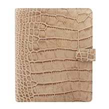 Filofax Classic Croc Print Leather Organizer Agenda Calendar A5 Size in Taupe with DiLoro Jot Pad Refills (A5, Taupe 2017, 026013)