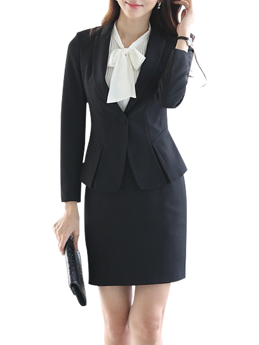 LISUEYNE Women 3 Pieces Solid Blazer Single-Breasted Office Lady Suit for Work Jacket and Skirts/Pants