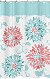 Sweet Jojo Designs Kids Bathroom Fabric Bath Modern Turquoise and Coral Emma Shower Curtain