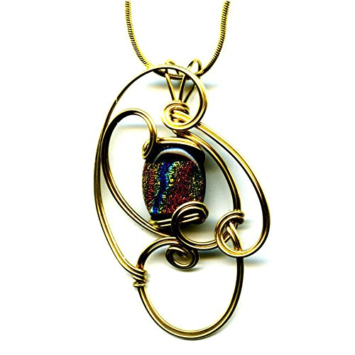 Glass Wire Wrapped Pendant (Brass Wire Wrapped Red Orange Black Dichroic Glass Pendant Necklace 17 Inches Handmade Ww140)