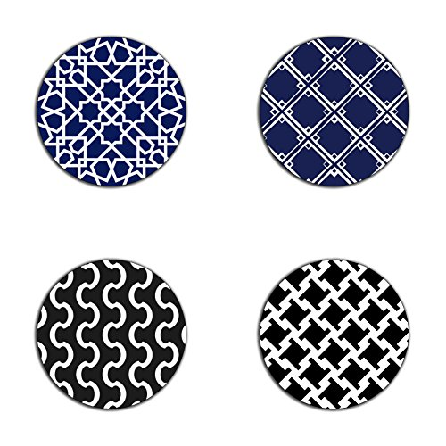 (White Geometric simple pattern round coaster set - Made of recycled rubber - set of 4)