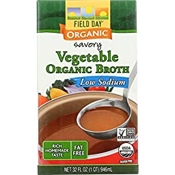 Field Day Organic Low Sodium Vegetable Broth, 32 Fluid Ounce -- 12 per case.