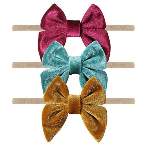 YanJie Baby Girl Soft Velvet Headband - 3 Pack Simple Nylon Headband Baby Gift Photography Hair Bow (Green-Velvet)