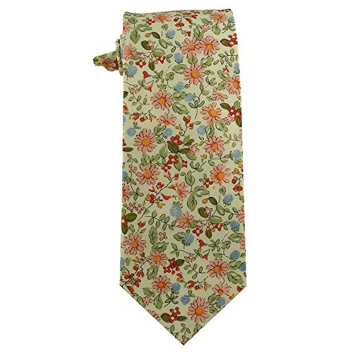 Johnson Brothers Mens Floral Cotton Tie Cream with Pink and Red Daisy Flowers Tie (Pink Floral Cream)